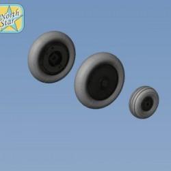 Bf-109G6 wheels set (Main disk Type 1 – with Ribs) Smooth main tires No Mask series