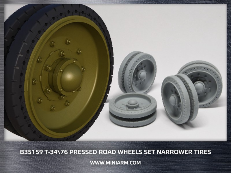 T-34/76 Pressed road wheels set (narrower tires)