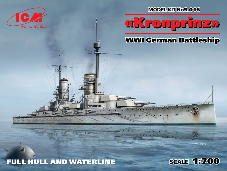 Kronprinz fullhull & waterline WWI German Battleship