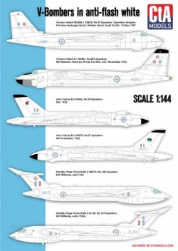 """V-Bombers in Anti-flash white"""" - Vickers Valiant, Avro Vulcan, Handley-Page Victor."""
