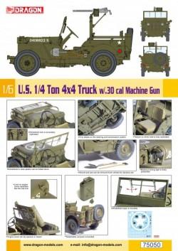 1/6 U.S. 1/4 Ton 4x4 Truck w/.30 cal Machine Gun (1:6)