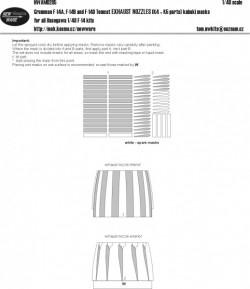 Grumman F-14A/B/D Tomcat EXHAUST NOZZLES (parts K4+K5) kabuki masks