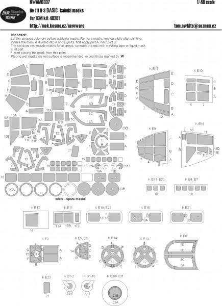 He 111 H-3 BASIC kabuki masks