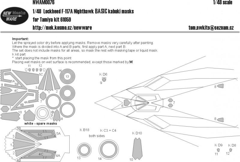 Lockheed F-117A Nighthawk BASIC masks