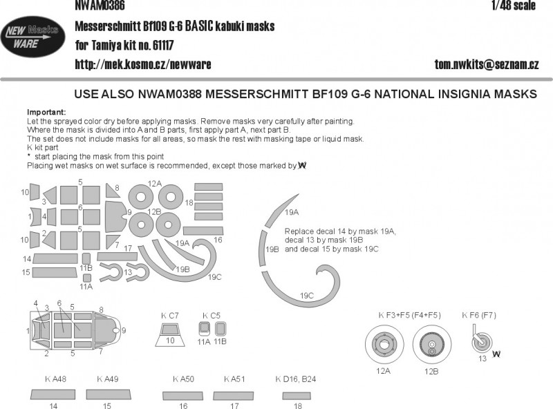Messerschmitt Bf109G-6 BASIC kabuki masks
