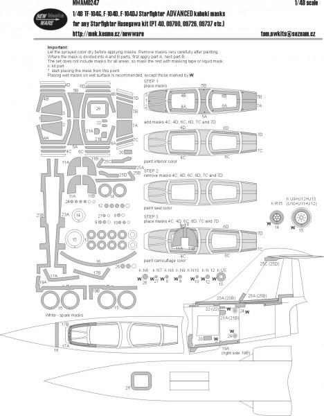 TF-104G, F-104D, F-104DJ Starfighter ADVANCED kabuki masks