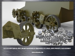 US light tank M5, M5A1, M8 HMC suspension set (road wheels set, bogies, drive sprockets, idler)