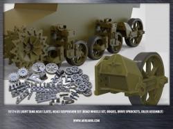 US light tank M3A1 (late), M3A3 suspension set (road wheels set, bogies, drive sprockets, idler)
