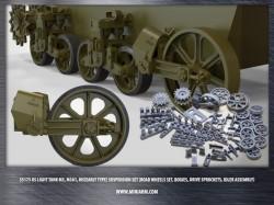 US light tank M3, M3A1, M5(early type) suspension set (road wheels set, bogies, drive sprockets,...)