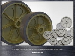 US light tank M3, M3A1, M5, welded road wheels set & Idler wheels w (blanked holes)