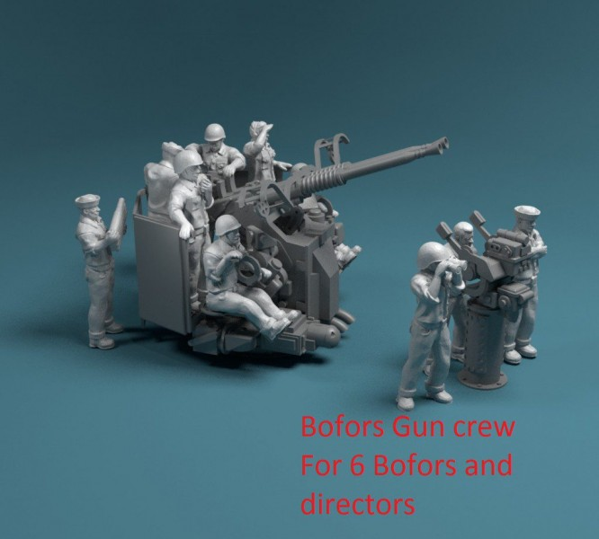 66 pcs figures US NAVY Bofors twin mount with Mk-51 director crew