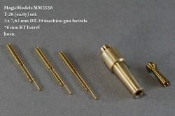 T-28 (early) set. Set contains 3 x 7,62 mm DT-29 machine gun barrels, 76 mm KT barrel, horn