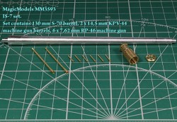 IS-7 set. Set contains 130 mm S-70 barrel, 2 x 14,5 mm KPV-44 machine gun barrels, 6 x 7,62 mm RP-46