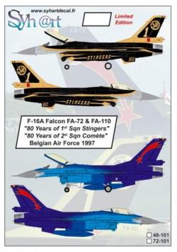"""F-16A Falcon FA-72 & FA-110 80 Years """"1st Sqn Stingers"""" & """"2nd Sqn Comète&"""
