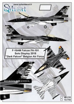 "F-16AM Falcon FA-110 ""Solo Display 2018 - Dark Falcon"" Belgian Air Force"