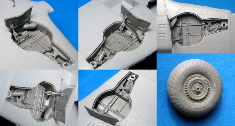 MiG-3 wheel wells and wheels (Trumpeter kit)