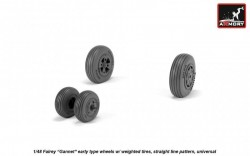 Fairey Gannet early type wheels w/ weighted tires of straight tire pattern, universal