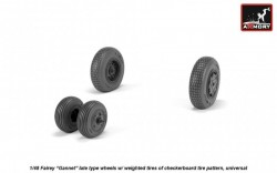 "Fairey ""Gannet"" late type wheels w/ weighted tires of checkerboard tire pattern, universal"