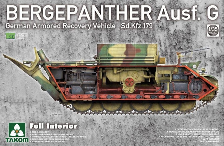 Bergepanther Ausf.G German Armored Recovery Vehicle Sd.Kfz.179 w/full interior
