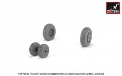 "Fairey ""Gannet"" late type wheels w/ weighted tires of checkerboard tire pattern"