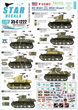 M3, M3A1, M3A1 Satan and M5A1 Stuart. US Marine Corps