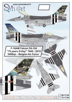 """F-16AM Falcon FA-124 """"75 years D-Day"""" 349Sqn - Belgian Air Force (stencils included)"""