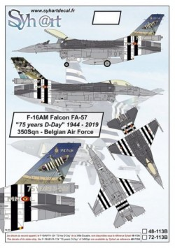 """F-16AM Falcon FA-57 """"75 years D-Day"""" 350Sqn - Belgian Air Force   (stencils included)"""