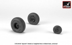 AH-64 Apache wheels w/ weighted tires, ribbed hubs
