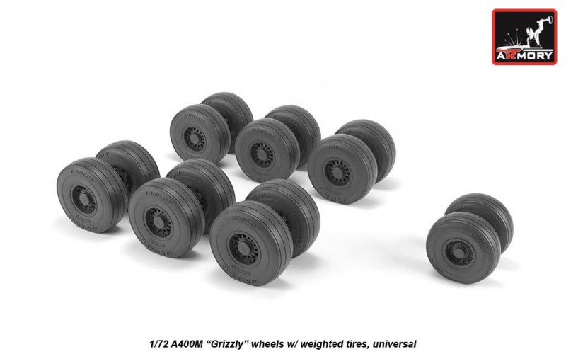 "A400M ""Grizzly"" wheels w/ weighted tires"