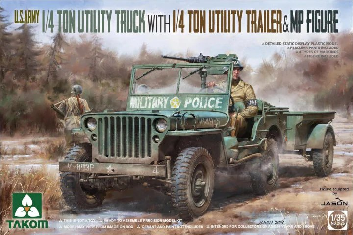 US Army Jeep + trailer & MP figure