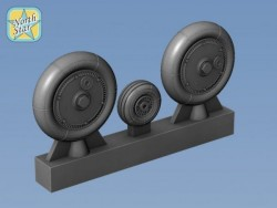 Wheels set for Bf.109 G-4 and Late Smooth main tires – set for 2 Airplanes