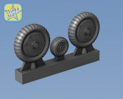 Wheels set for Bf.109 G-4 and Late Tread main tires – set for 2 Airplanes
