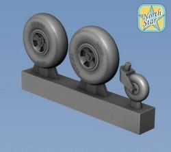 Spitfire wheels set 4 spoke, set for 2 airplanes
