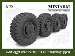 """Sagged wheel set for  BTR K-17 """"Bumerang"""" (8pcs)"""
