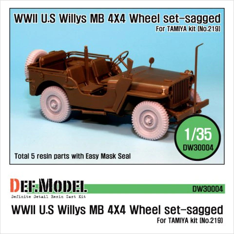WWII US Willys Mb Wheel Set for Tamiya
