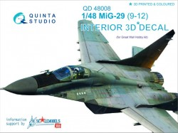 MiG-29 (9-12) Interior 3D Decal For GWH