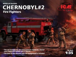 Chernobyl#2. Fire Fighters (AC-40-137A firetruck & 4 figures & diorama base with background)