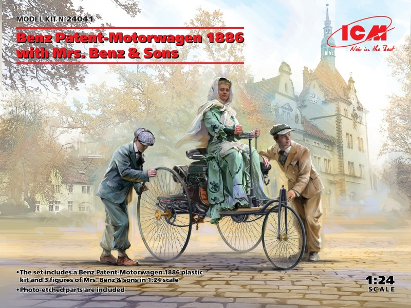 Benz Patent-Motorwagen 1886 with Mrs. Benz & Sons