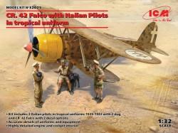 CR. 42 Falco with Italian Pilots in tropical uniform