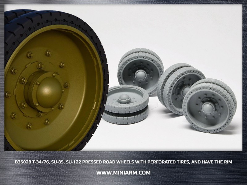 T-34/76,SU-85,SU-122 Pressed Road Wheels w/perforated tires, and have the rim ( new edition 2017)