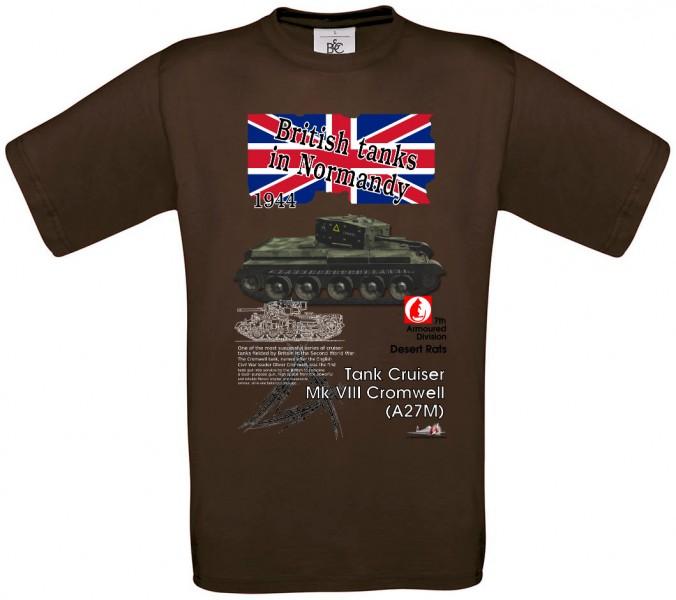 Tričko krátky rukáv Cromwell - M - Hnedá