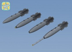 Set of 6 Mk-82 Snakeye bomb with Mk15 Mod IV Fin, 4 different nose + DECAL
