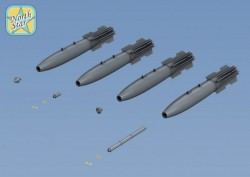 Set of 6 Mk-82 Snakeye bomb with Mk15 Mod IV Fin, 4 different nose NO DECAL