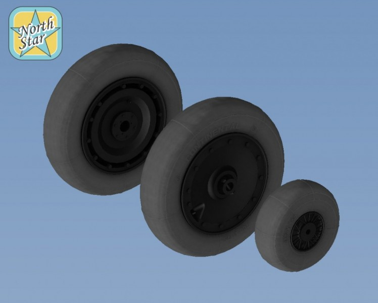 Fw.190 A/F/G/D wheels, late disk Continental tire (smooth) – No mask series