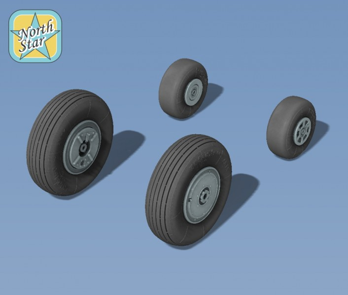 Wheels set for Kamov Ka-15 and Ka-18 Helicopters
