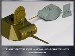 Т-70 WWII Soviet light tank, Turret plus gun barrel(metal) includes driver's hatch