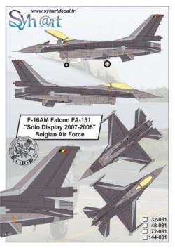 "F-16AM Falcon FA-131 ""Solo Display 2007-2008"" Belgian Air Force"