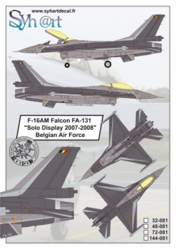 "F-16AM Falcon FA-131 ""Solo Display 2007-2008"" Belgian Air Force"