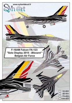 """F-16AM Falcon FA-123 """"Solo Display 2015 - Blizzard"""" Belgian Air Force"""