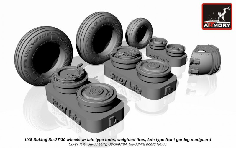 Sukhoj Su-27/30 wheels w/ late type hubs, weighted tires, late type front mudguard, for Su-27 late